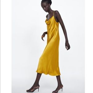 NWT Rare Zara Yellow Gold Satin Slip Dress